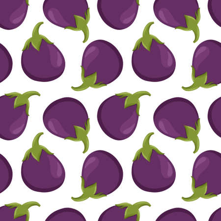 eggplant pattern in cartoon style. Healthy organic eggplant slices for autumn market design.