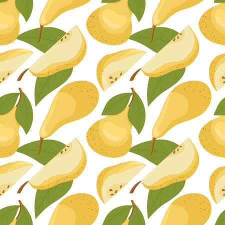 pears pattern in cartoon style. Healthy organic pears with leaves and slices.