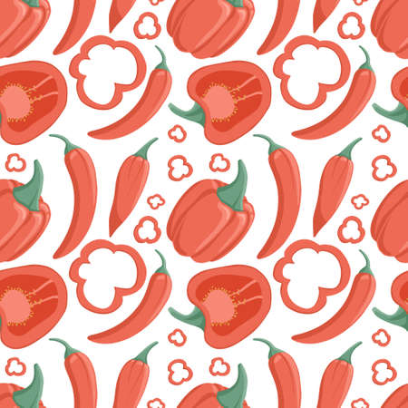 bell peppers and chili peppers seamless pattern in cartoon style. Healthy organic pepper slices.