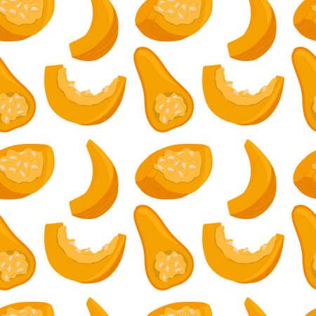 pumpkin seamless pattern in cartoon style. Healthy organic squash and pumpkin slices.