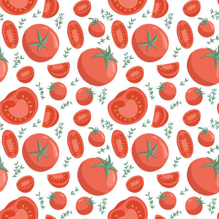 tomatoes seamless pattern in cartoon style. Healthy organic cherries with rosemary and tomato slices.