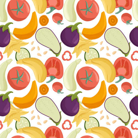 vegetables seamless pattern in cartoon style. Bright tomatoes, bell peppers, zucchini, pumpkin, eggplants.