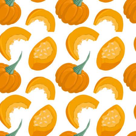 pumpkin pattern in cartoon style. Healthy organic squash and pumpkin slices.