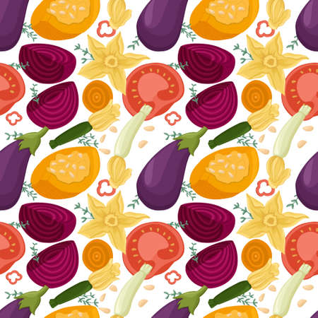 vegetables pattern in cartoon style. Tomatoes, avocado, bell peppers, zucchini, pumpkin, eggplants,beetroot. Çizim