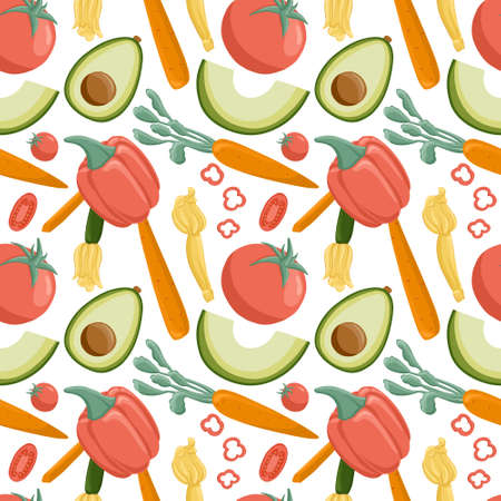 vegetables pattern in cartoon style. Bright tomatoes, avocado, carrot, bell peppers, eggplants.