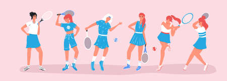 Set of cute tennis players. Women in sport clothes playing big tennis with tennis racket flat cartoon illustration. Female sport characters for sport club, fitness, social media design.