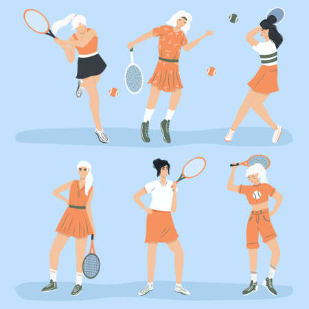Set of cute tennis players. Women in sport clothes playing big tennis with tennis racket flat cartoon illustration. Female sport characters for sport club, fitness, social media design. Çizim