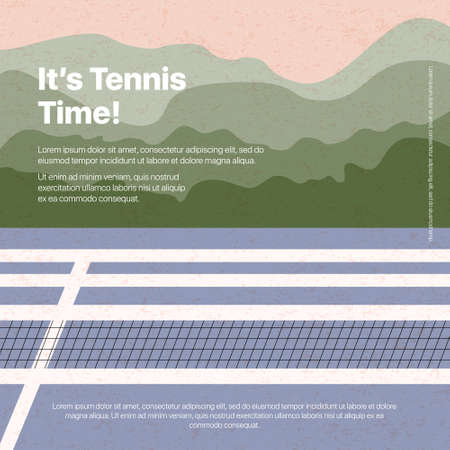 Tennis court flat illustration with text space and textures. Active lifestyle, tennis tourney or championship poster design. Big tennis tournament banner template for social media, cards, web.