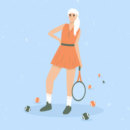 Woman playing big tennis flat illustration isolated on blue background. Cute tennis girl in sport clothes holding tennis racket. Active lifestyle, sportswoman concept.