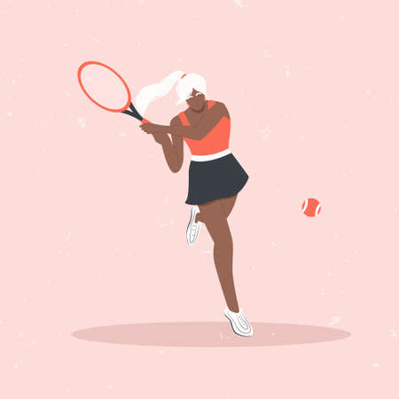 Woman playing big tennis flat illustration isolated on pink background. Cute tennis girl in sport clothes hitting orange tennis ball with racket. Active lifestyle, sportswoman concept.