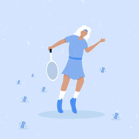 Woman playing big tennis flat illustration isolated on blue background. Cute tennis girl in sport clothes hitting blue tennis ball with racket. Active lifestyle, sportswoman concept.