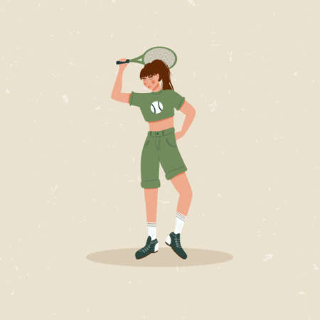 Woman playing big tennis flat illustration isolated on beige background. Cute tennis girl in sport clothes holding tennis racket. Active lifestyle, sportswoman concept.