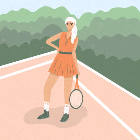 Cute tennis girl in sport clothes standing at tennis court and holding tennis racket flat illustration. Sportswoman at tennis court. Active lifestyle, sportswoman concept. Çizim