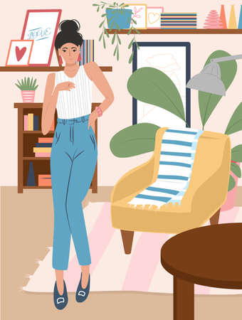 Young girl in modern clothes standing in the living room flat cartoon illustration. Modern cozy interior design. Stylish home furniture, decorations and home plants. Scandinavian hygge style. Иллюстрация