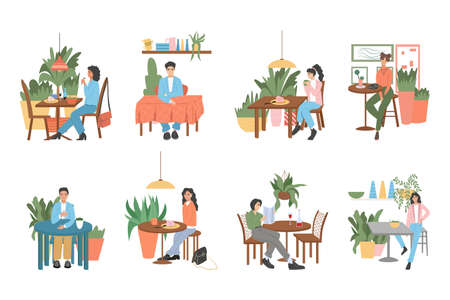 Set of modern and cozy cafe or restaurant interiors design with people. Vector flat illustration of modern cafe interiors.