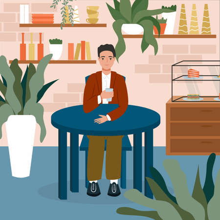 Young smiling man sitting at the cafe or restaurant and have a drink vector flat cartoon illustration.