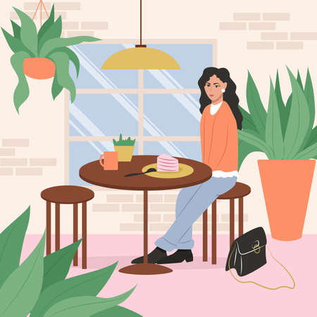 Happy smiling woman in cafe or restaurant vector flat illustration. Modern light cafe or restaurant interior design Çizim