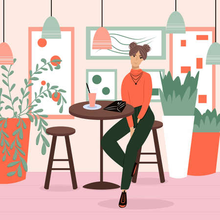 Happy smiling woman in modern clothes sitting at the restaurant or cafe vector flat cartoon illustration. Çizim