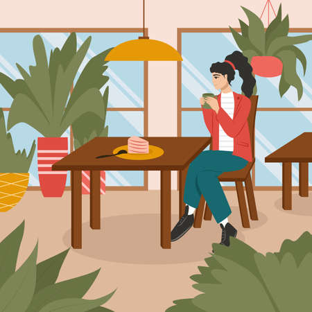 Happy woman in cafe or restaurant vector flat illustration. Modern and cozy cafe or restaurant interior design.