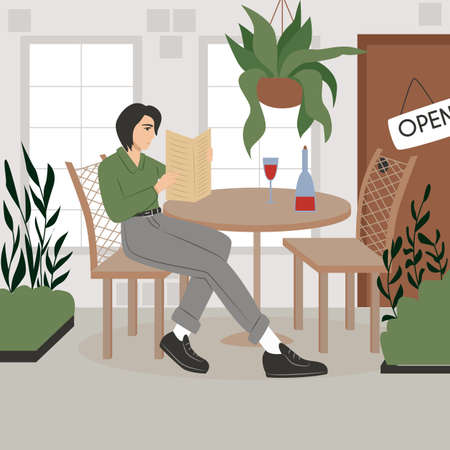 Young woman in modern clothes sitting at cafe or restaurant summer terrace vector flat cartoon illustration.