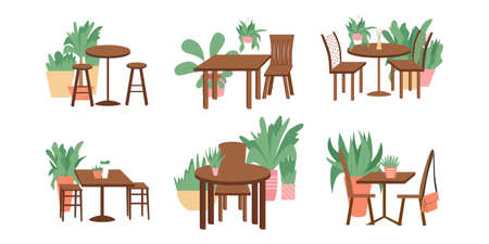 Set of cute and cozy furniture design with home plants vector flat cartoon illustration.