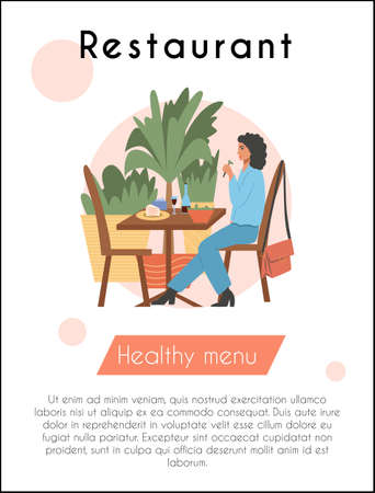 Young woman sitting at the cafe or restaurant and have a dinner vector flat cartoon card design with text. Vettoriali