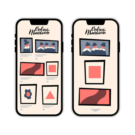 Online museum vector mobile application template with hand drawn lettering. 矢量图像