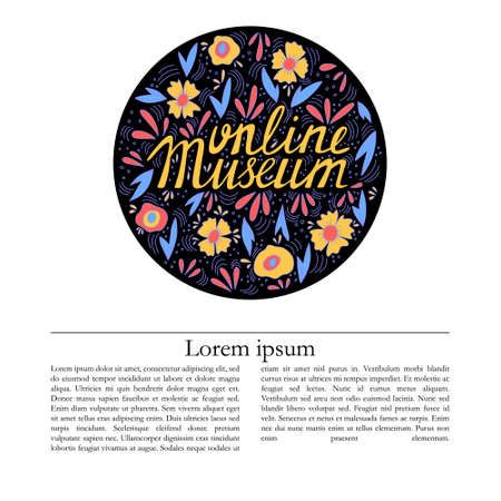 Online museum vector banner template with lettering. 矢量图像