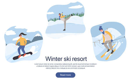 Ski resort landing page concept. Group of people doing winter activities vector flat cartoon illustration.