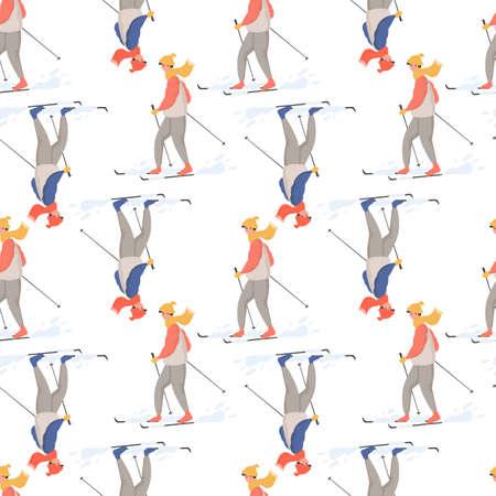 Winter sport activities vector flat cartoon seamless pattern. People in winter clothes doing winter activities. 向量圖像