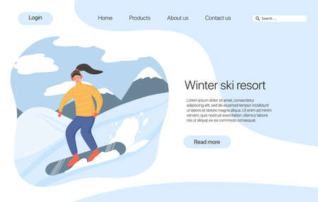Ski resort landing page concept. Young happy woman snowboarding on snow vector flat cartoon illustration.