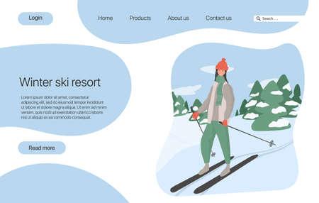 Ski resort landing page concept. Young happy girl riding on ski vector flat cartoon illustration. 向量圖像