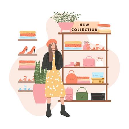 Shopping store card design. Woman in fashionable clothes, shelves with shoes vector flat cartoon illustration. Vektoros illusztráció