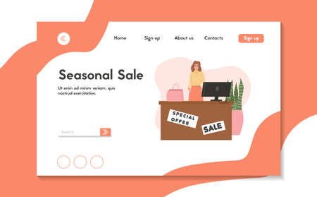 Shopping store landing page template. Saleswoman in fashion clothing store vector flat cartoon illustration.