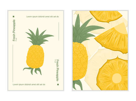 Ripe pineapple with leaves card template. Sweet pineapple pieces vector hand drawn poster design.