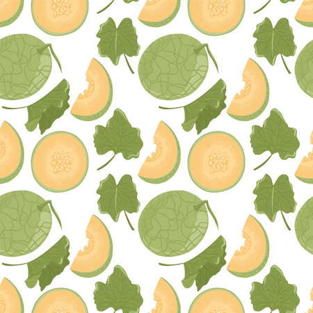 Fresh and ripe melon vector hand drawn seamless pattern. Watermelon slices with seeds and leaves, summer food illustration for fruit shop design. Sliced fruit. Vector Illustration