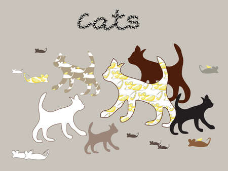 Vector silhouettes set of cats and mouse and cheese Vector