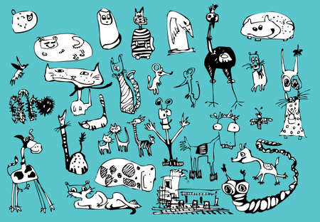 Vector cartoon fanny animals set  Hand drawn