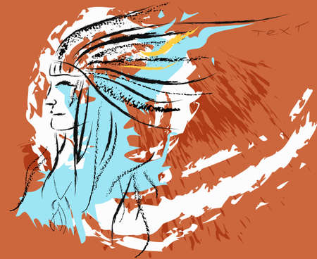 Vector illustration Red indian with tribal headdress of feathers hand drawn in coal Vector