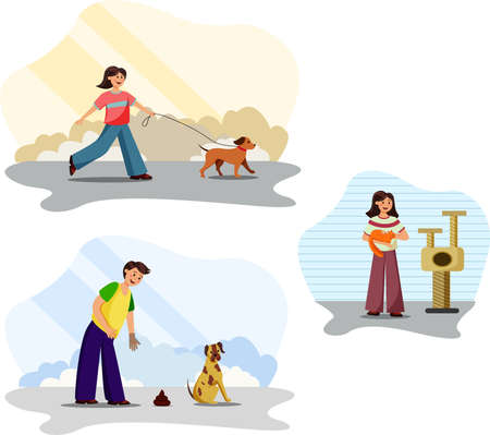 Happy pets owners vector set 向量圖像