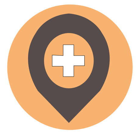 Clinic Map Pointer vector icon. Style is flat