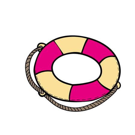 vector color doodle Lifebuoy icon Elment of travel