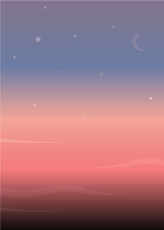 bright sunset with stars vector background Vector Illustration