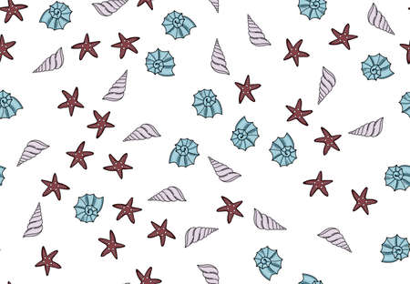 Set of seamless pattern with shells. Vector