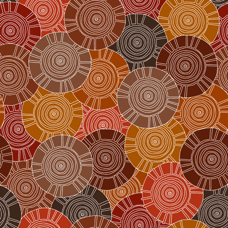 Circular, tribal pattern with motifs of African tribes Surma and Mursi; seamless texture suitable for print, textile, wallpaper, background or stationary.