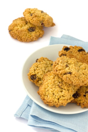 Oatmeal cookies with raisins on a plate  photo