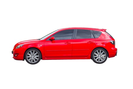 hatchback: Red Mazda hatchback isolated on white background. Stock Photo