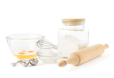 rolling pin: Ingredients for baking isolated over white