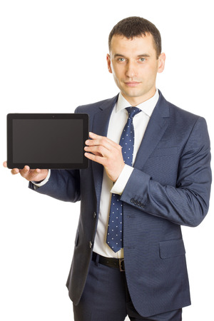 blank tablet: Businessman presenting a blank screen digital tablet
