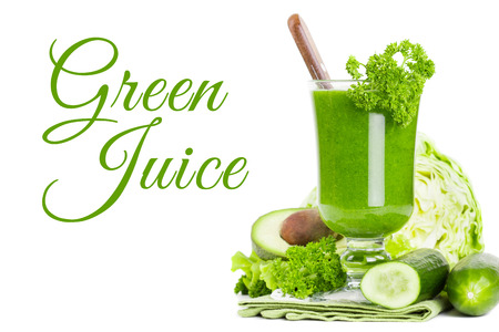 Green vegetable smoothie juice isolated on white background Stock Photo